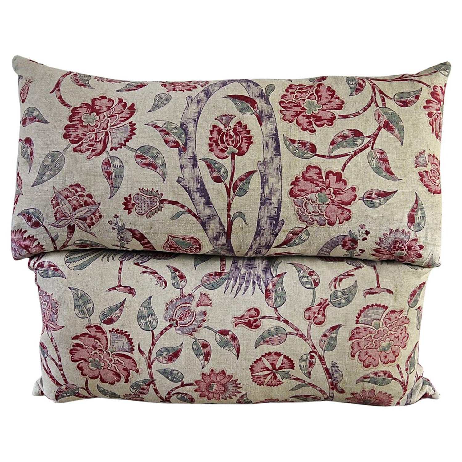 Pair Of Pink Floral Linen Pillows French 19th Century