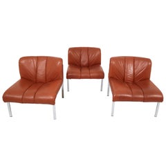 Set of Three Chairs, Sofa in Cognac Leather by Girsberger, Switzerland, 1970s