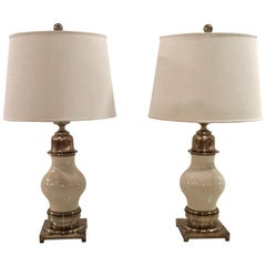 Impressive Pair of Midcentury Ceramic and Brass Table Lamps, by Stiffel