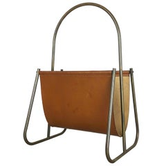 1950s Brass and Leather Magazine Holder Model 4019 by Carl Auböck, Austria