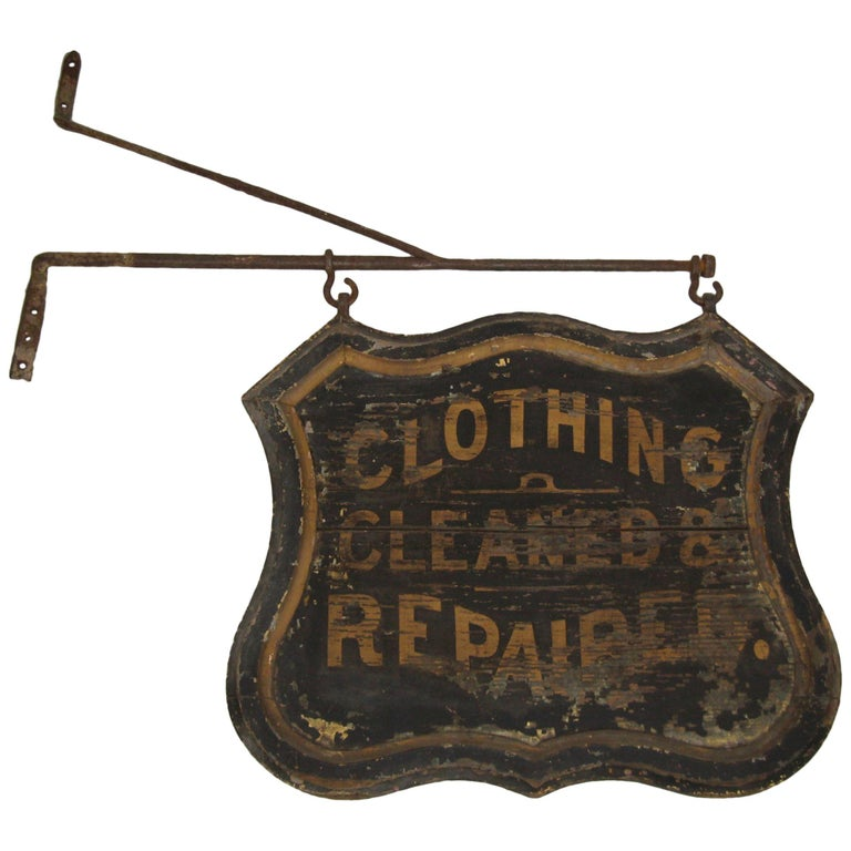 19th Century Trade Sign Clothing Wood Double Sided Wooden Hudson Valley NY  For Sale