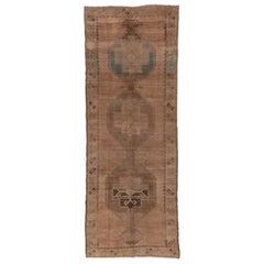 Vintage Oushak Runner, Wide, Brown Tones