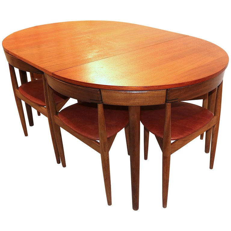 """Hans Olsen for Frem Rojle """"Roundette"""" Dining Table with Real Leather Chairs For Sale"""