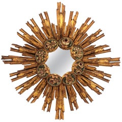 Spanish Baroque Giltwood Starburst Sunburst Mirror with Polychromed Flowers