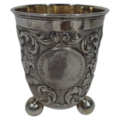 Antique German Baroque-Style Silver Beaker with Old Coins