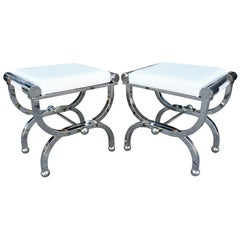 Pair of Charles Hollis Jones Empire Style Benches in Lucite & Polished Nickel