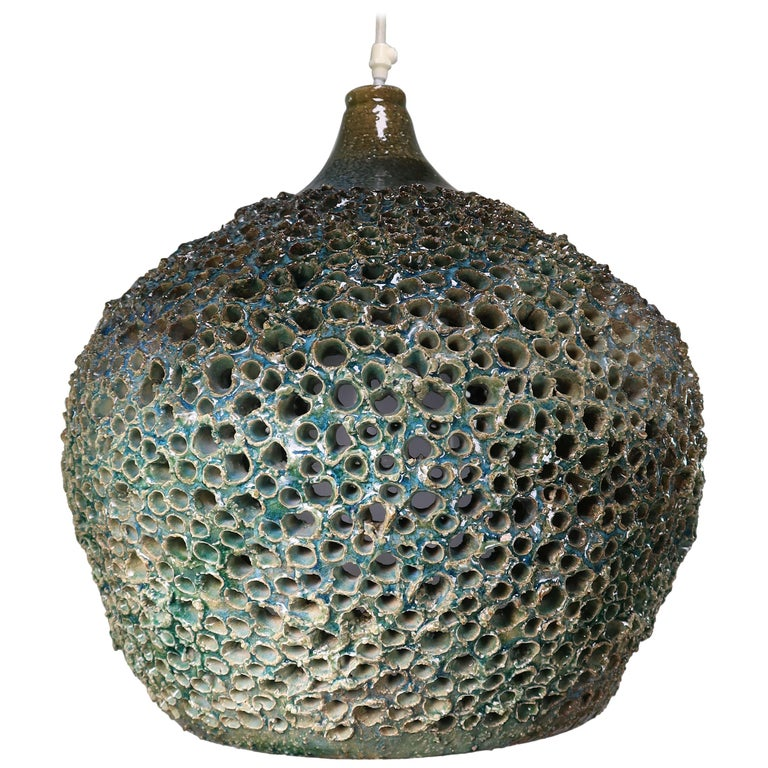 Large One-of-a-Kind Danish Perforated Ceramic Pendant by Sejer Keramik, 1960s For Sale