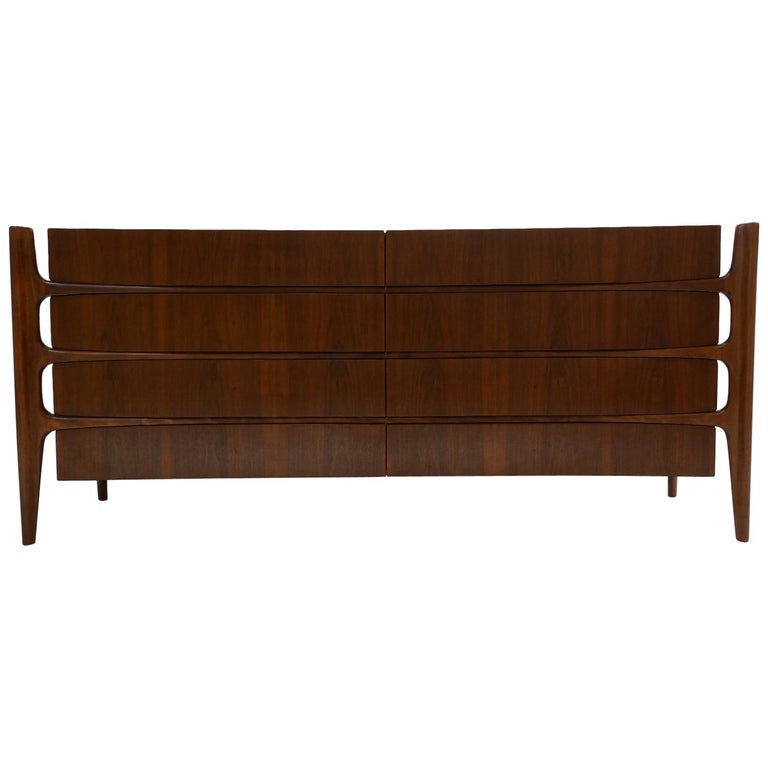 Stilted Curved Scandinavian Mid-Century Modern William Hinn Chest or Dresser For Sale