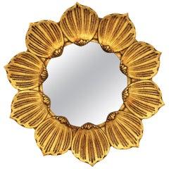 Francisco Hurtado Hollywood Regency Giltwood Carved Flower Sunburst Mirror