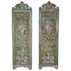19th Century Italian Painted Carved Wood Panels, Pair