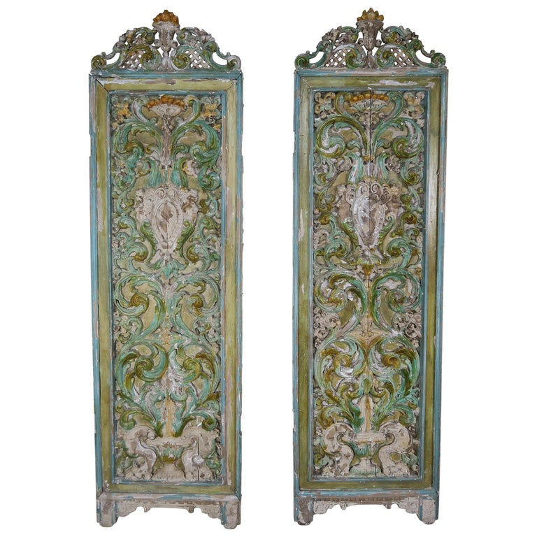 19th Century Italian Painted Carved Wood Panels, Pair For Sale