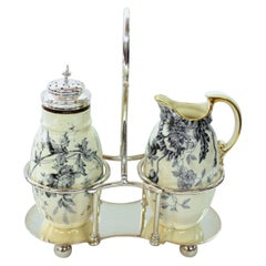 Old English Silver Plate China Sugar and Creamer on Stand
