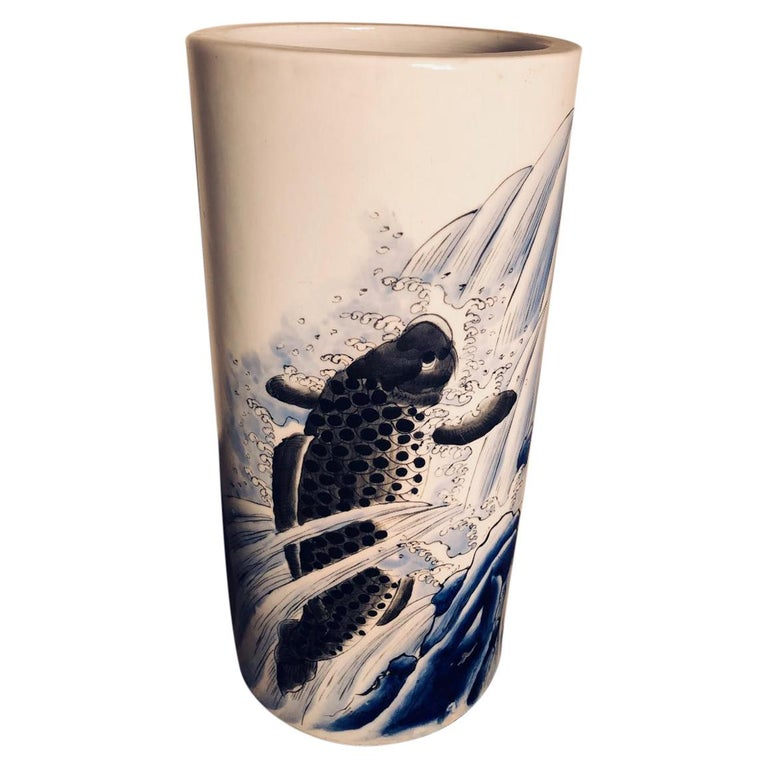 Japanese Antique Koi & Waves Vase Blue Hand-Painted, Early 20th Century For Sale