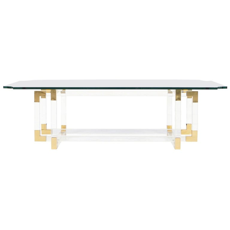 "Acrylic and Brass ""Metric Line"" Coffee Table by Charles Hollis Jones For Sale"