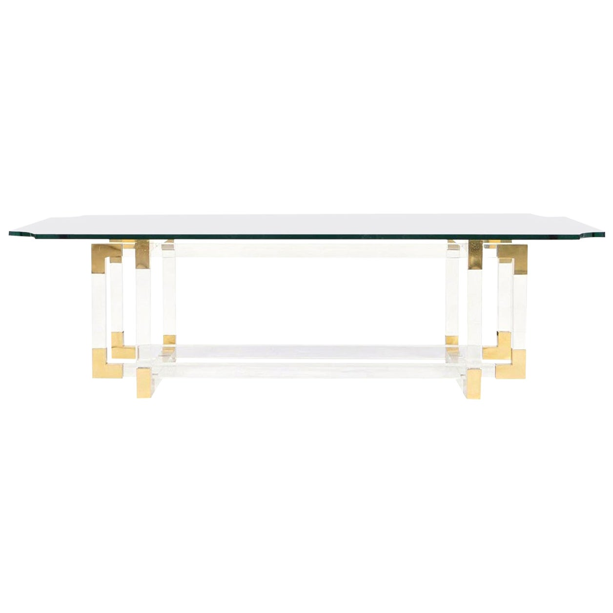 """Vintage Lucite and Brass """"Metric Line"""" Coffee Table by Charles Hollis Jones"""