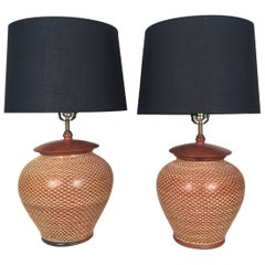 Pair of Hand-Thrown Pottery Lamps