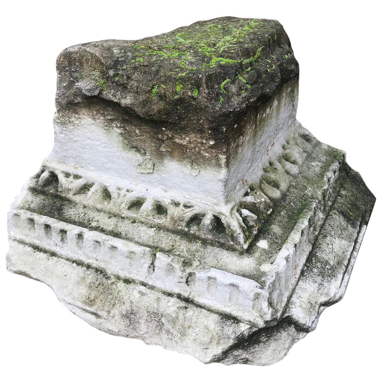 16th Renaissance Hand Carved Capital Stone Base Architectural Element sculpture