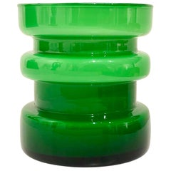Danish Modern Green Holmegaard Vase Cased