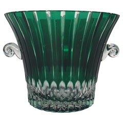 Emerald Glass Cut to Clear Champagne Ice Bucket