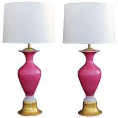 Striking Pair of Murano Midcentury Pink Cased-Glass Baluster-Form Lamps