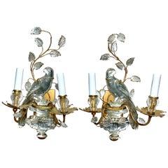 French Maison Baguès Crystal Bird Sconces