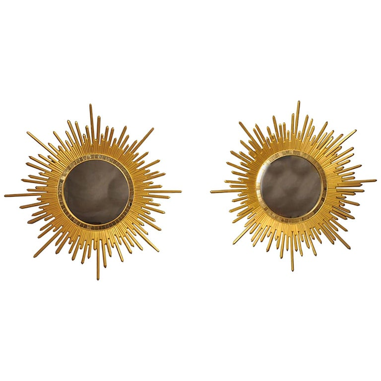 Italian Neoclassic Style 'Modern' Giltwood Sunburst Round Mirrors For Sale