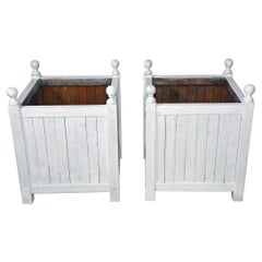Pair of White Washed Caisse De Versailles Planters