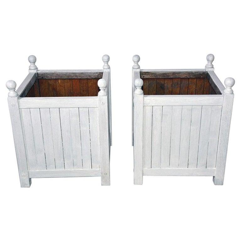 Pair of White Washed Caisse De Versailles Planters For Sale