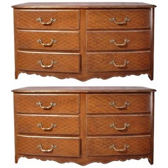 Pair of French Midcentury Leather Covered Chests of Drawers