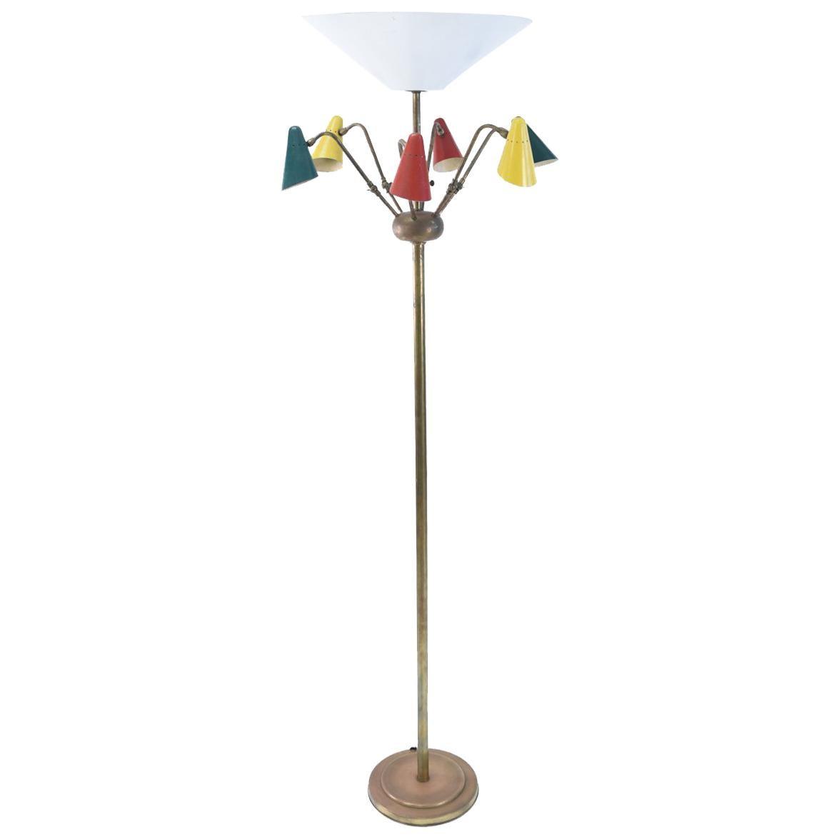 Midcentury Italian Floor Lamp in the Manner of Arteluce