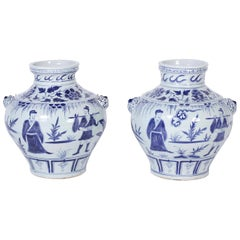Pair of Blue and White Chinese Porcelain Urns or Vases