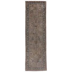 Attractive Indian Laristan Gallery Carpet, Grey Tones, Neutral Palette