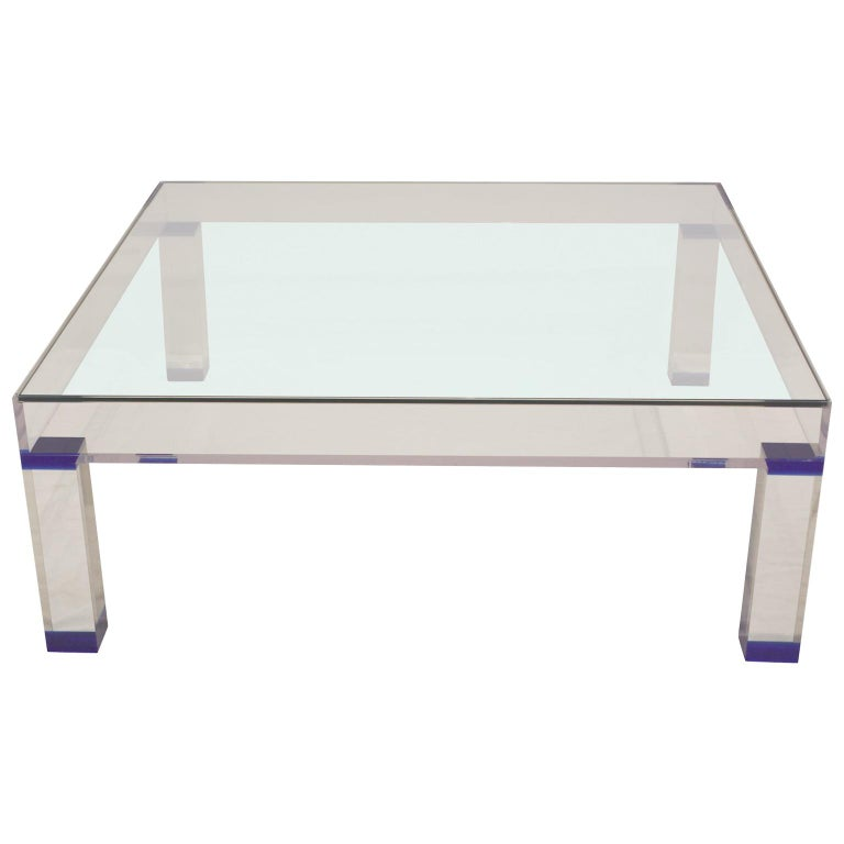 Modern Square Display Coffee Table Made From Lucite And