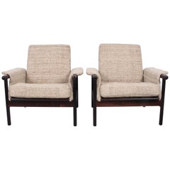 Pair of Danish Modern Hans Olsen Style Rosewood Lounge Chairs