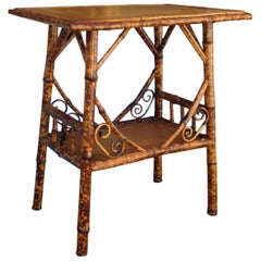 Antique English Burnt Bamboo Occasional Table