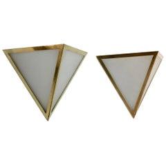 Set of Brass & Opal Glass Triangle Wall Sconces from Glashütte Limburg, Germany
