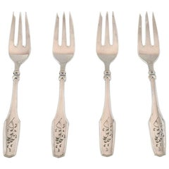 Danish Silversmith, Set of 4 Cake Forks in Silver, 1930
