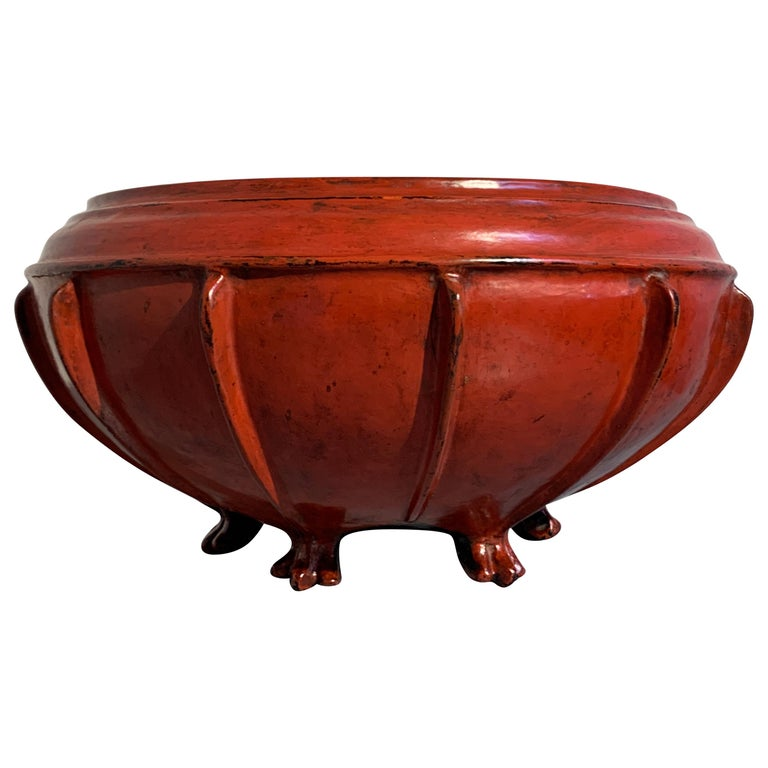Large Burmese Red Lacquer Large Offering Bowl, Late 19th or Early 20th Century For Sale