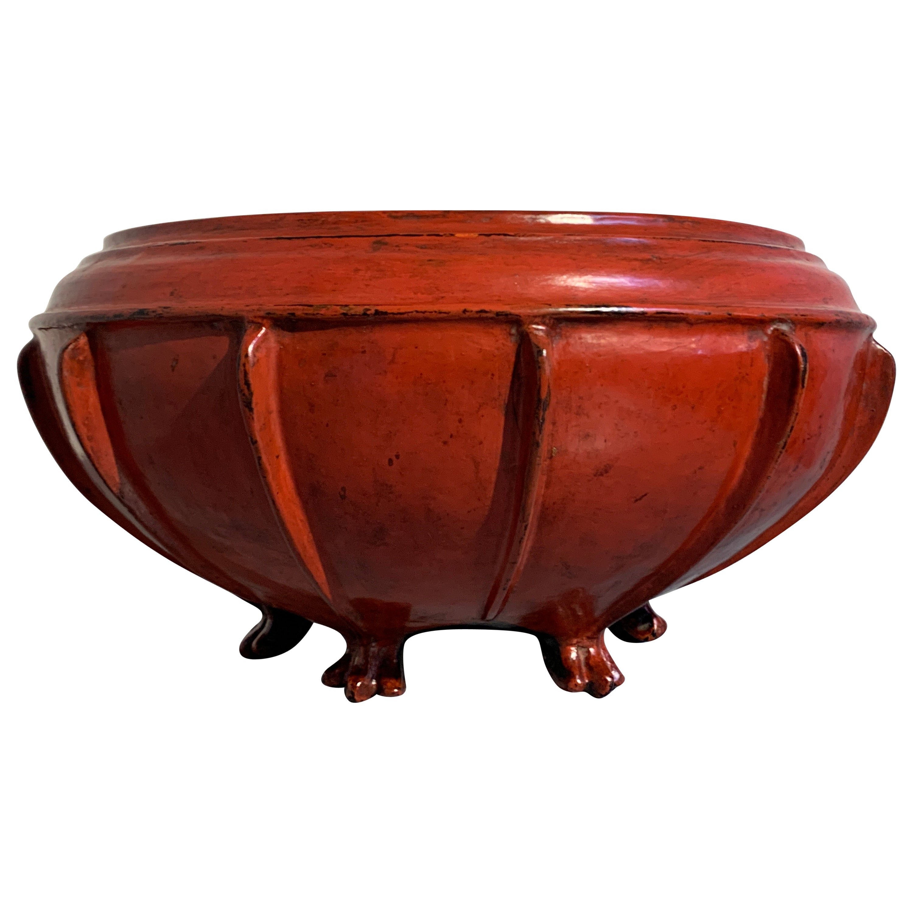 Large Burmese Red Lacquer Large Offering Bowl, Late 19th or Early 20th Century