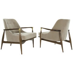 Pair of Modern Brass Accented Walnut Lounge Chairs, 1950s