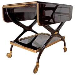 Mid-Century Modern Italian Mahogany and Brass Bar Cart, 1950s