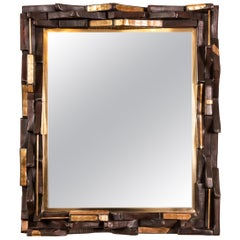 "Industrial ""Folk Art"" Wood Mirror, circa 1950s"