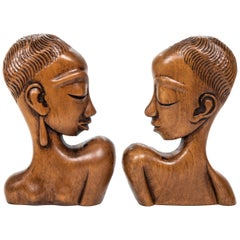 "Pair of ""Art Deco"" Designed Carved Wood African Figures after Hagenhauer"