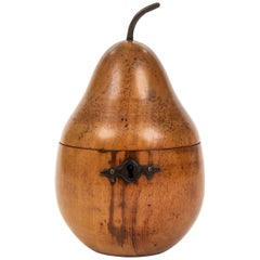 Antique Fruitwood Pear Tea Caddy