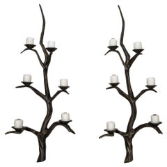 Large Pair of Bronze Branch Style Wall Sconces