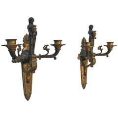 Pair of French Bronze Neoclassical Style Wall Sconces