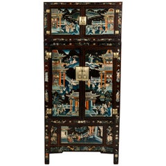 Pair of Early 20th Century Chinese Painted Cabinets