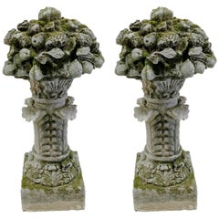 Pair of Carved Stone Floral Bouquets on Plinths, Italy, circa 1880