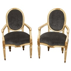 Pair of Italian Neoclassical Armchairs in the Louis XVI Manner