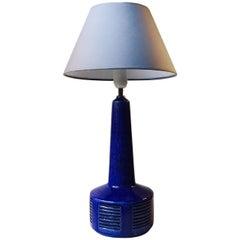 Blue Chamotte Table Lamp by Annelise & Per Linnemann-Schmidt, Palshus, 1970s